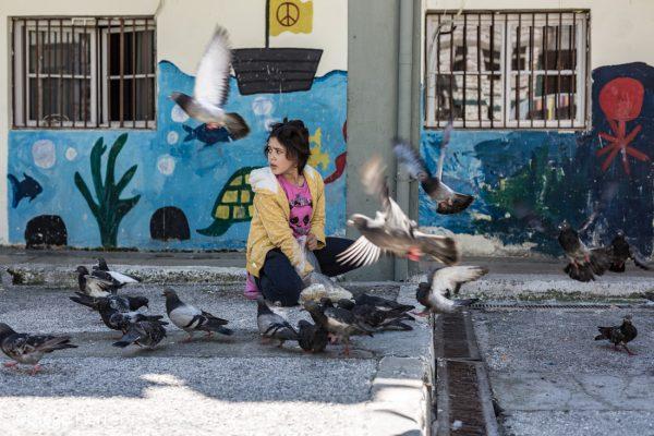 Una niña da de comer a las palomas